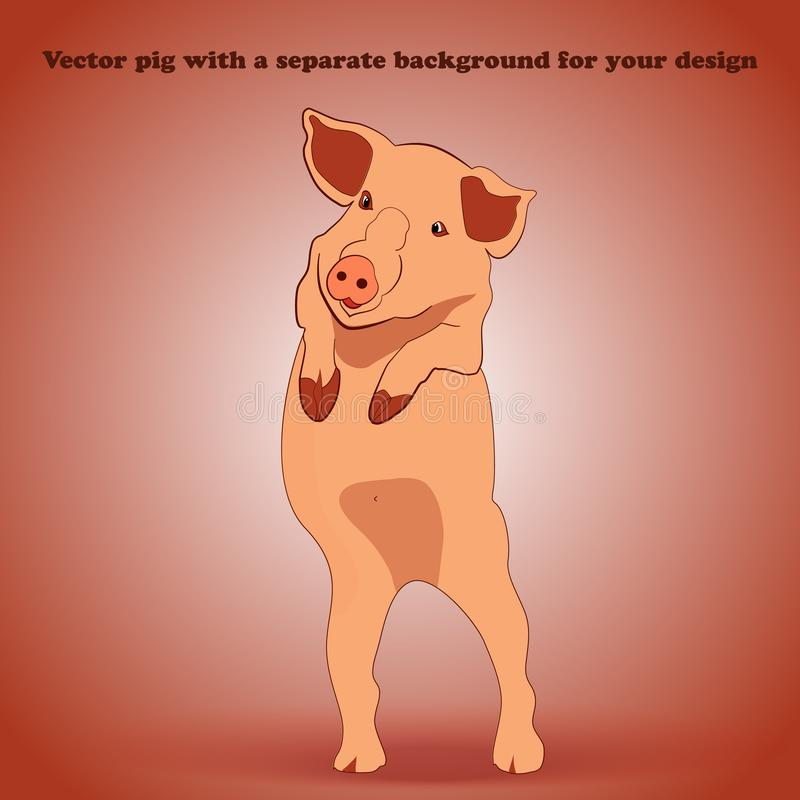 Piglet on a detachable background waving to us stock photography