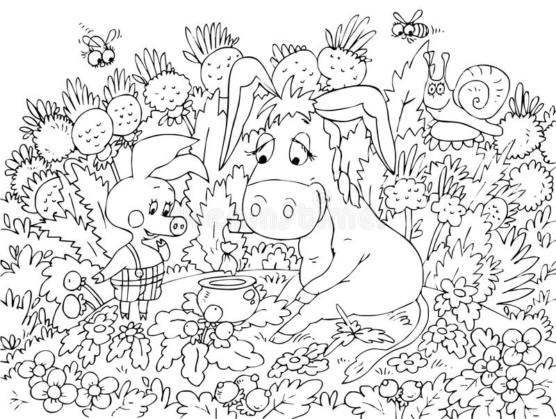 Piglet and Donkey sitting on the lawn. Black-and-white outline (for a coloring book) of the funny piglet and donkey sitting on the lawn among the flowers vector illustration