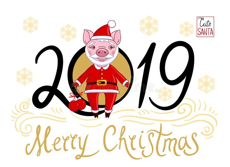 Piglet in the role of Santa Claus stock illustration