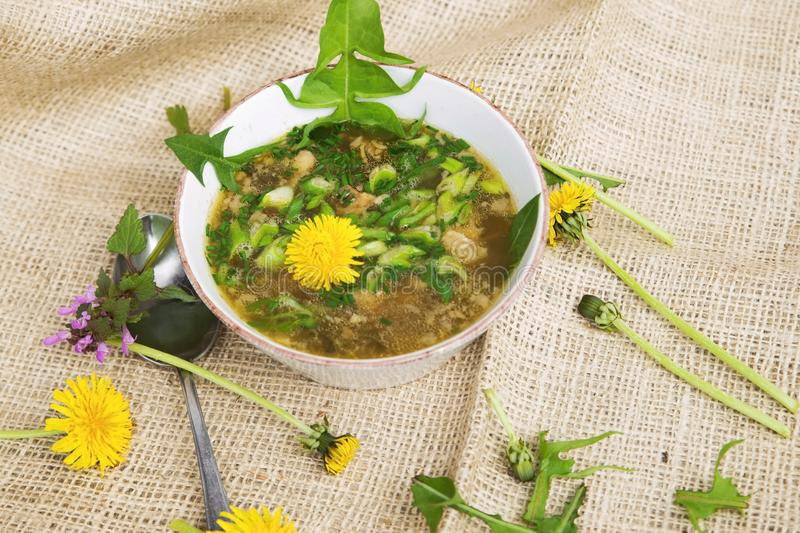 Piglet soup with flowers. Thick piglet broth with season spring herb in white bottle, on juta matting with dandelions stock photography