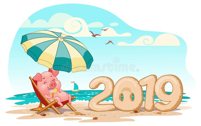 Piglet on vacation in 2019, on the beach under an umbrella, vector royalty free illustration