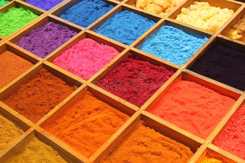 Pigment. Powder for sale at a market stall for artists royalty free stock photo