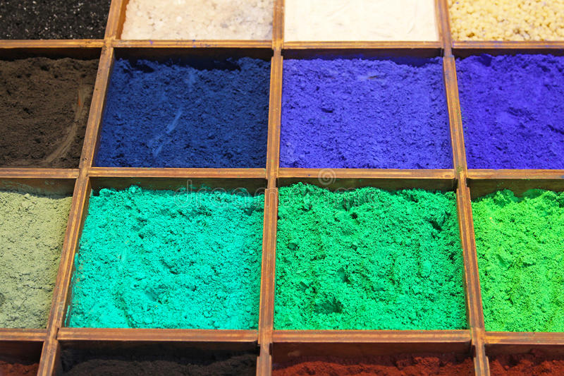 Pigment powder. For sale at a market stall for artists royalty free stock photos