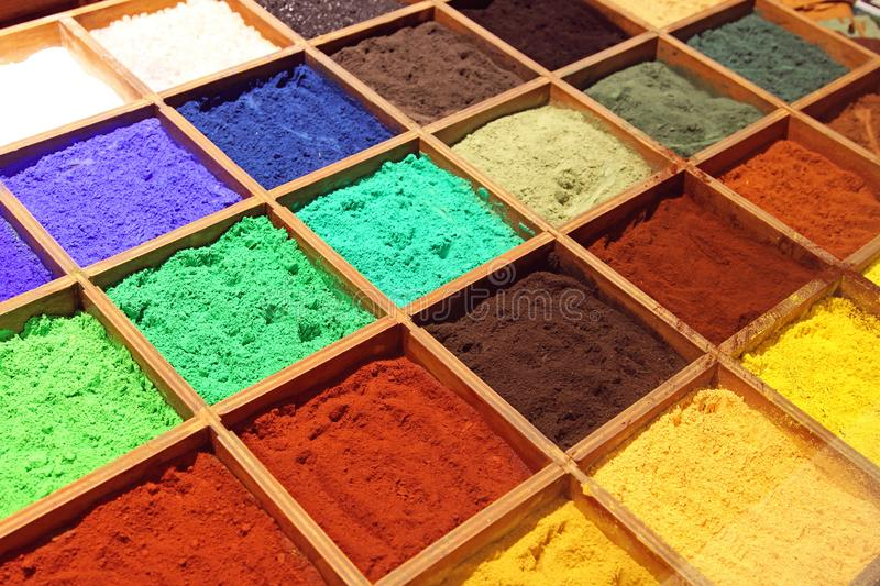 Pigment Powder. Variety Pigment Powder Paint for Artists royalty free stock image