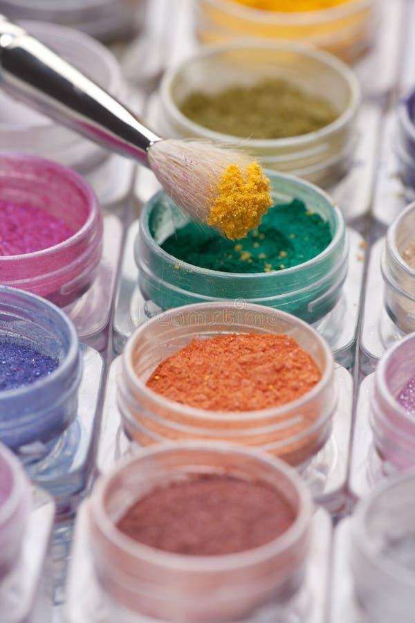 Pigmento cosmético del cepillo arriba foto de archivo libre de regalías
