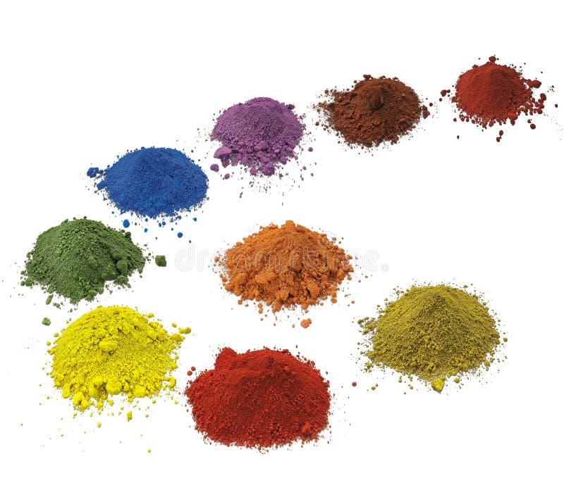 Pigmentos coloridos no fundo branco fotografia de stock