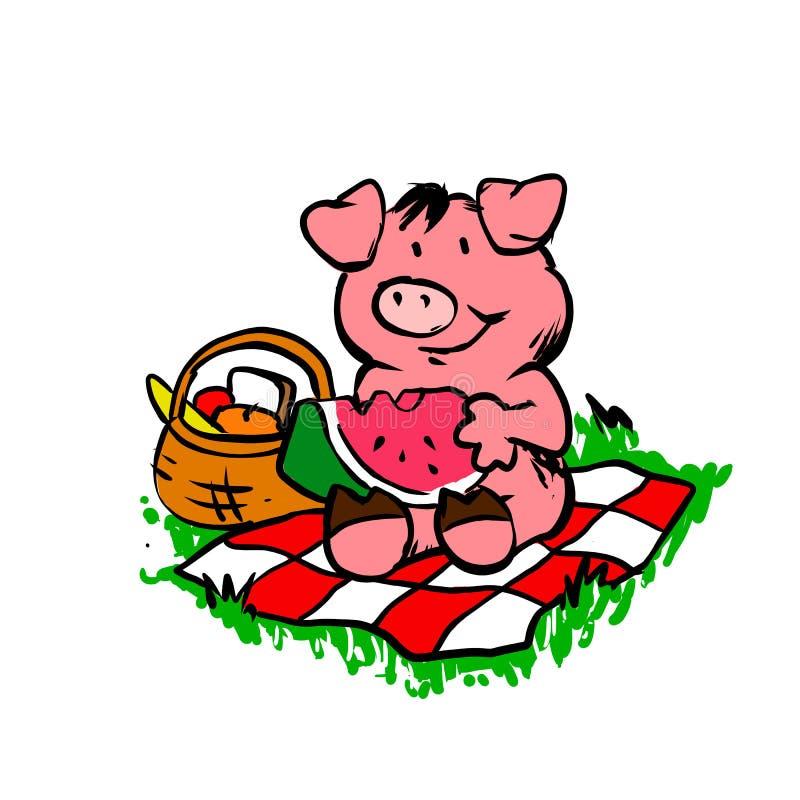 Pignic Свинья шаржа смешная свинья иллюстрация вектора