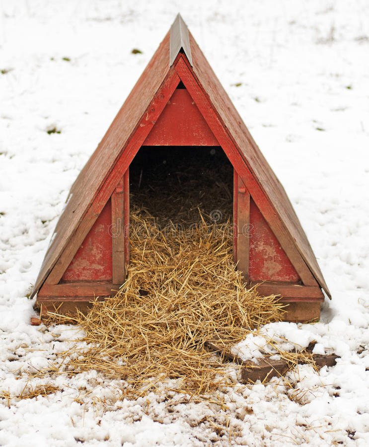 Pigpen im Schnee stockfoto
