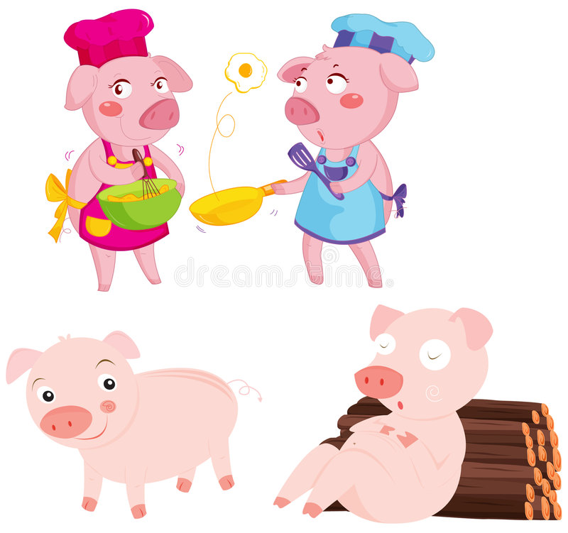 Download Pigs stock illustration. Image of swine, funny, restaurant - 8487849