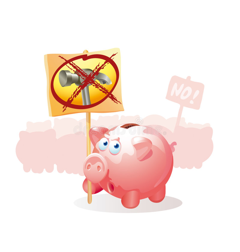 Pigs-coin boxes protest