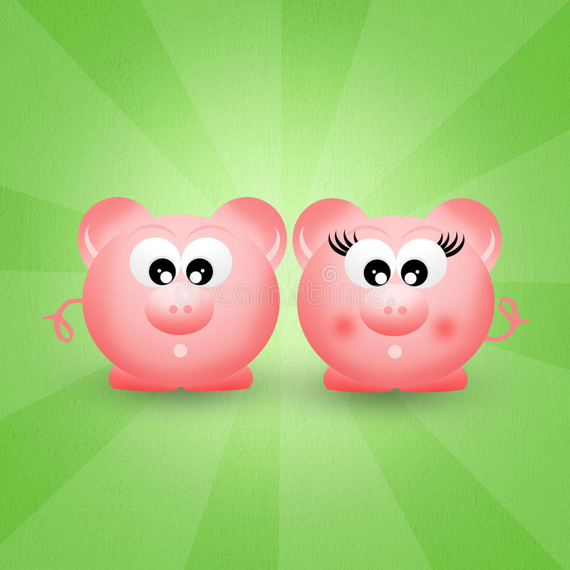Download Pigs couple stock illustration. Image of illustration - 37062258