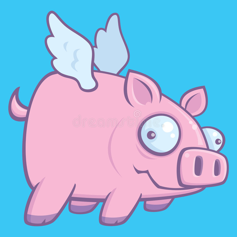 When Pigs Fly. Cartoon vector drawing of a flying pig illustrating the phrase When Pigs Fly royalty free illustration