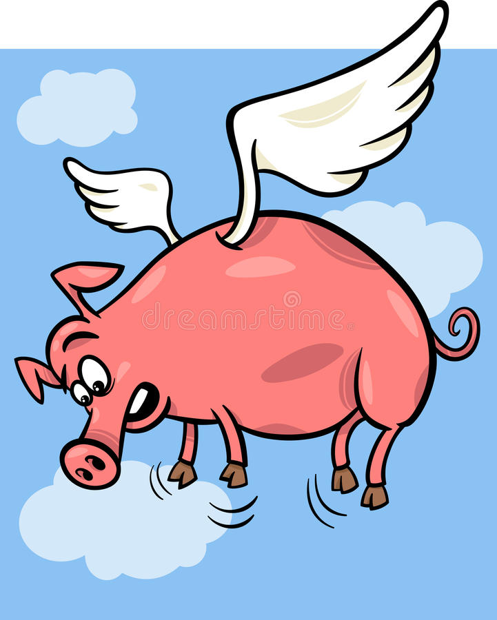 When pigs fly cartoon illustration. Cartoon Concept Illustration of When Pigs Fly Saying stock illustration