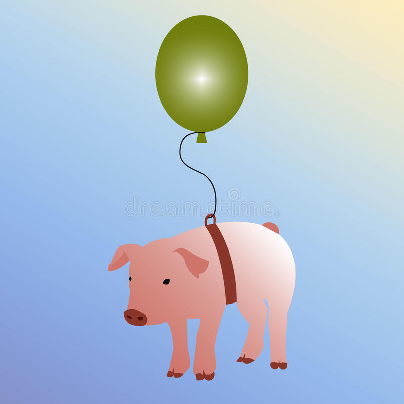 When pigs fly concept royalty free illustration
