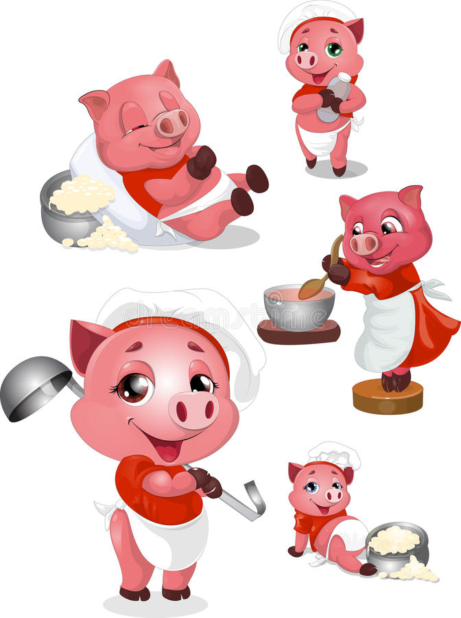 Pigs. It is a lot of images with pigs scullions royalty free illustration