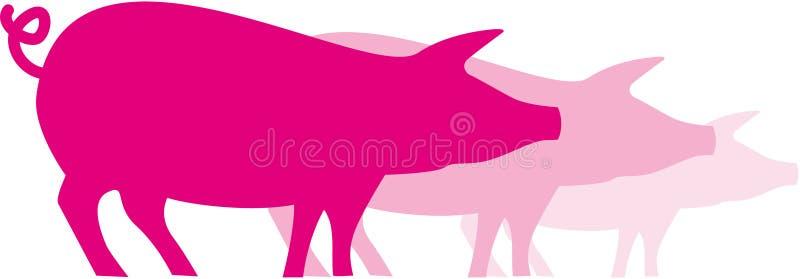 pigs pink tre royaltyfri illustrationer