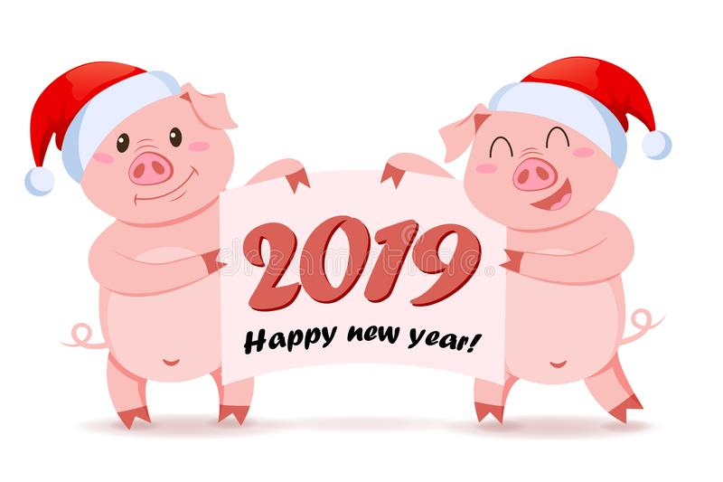 Pigs in Santa Claus hat holding banner with congratulation. Symbol of Chinese New Year 2019 stock illustration