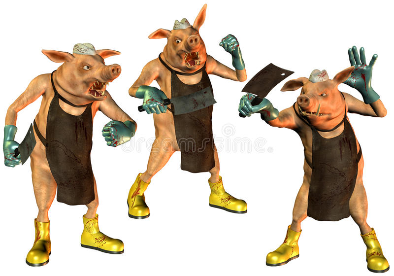 Download Pigs in the slaughterhouse stock illustration. Image of butcher - 15856486