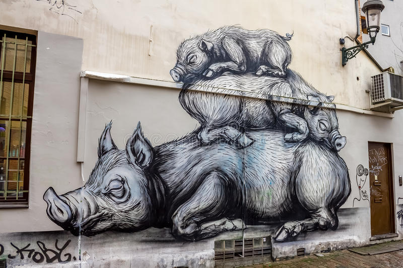 Download Pigs - street art editorial stock image. Illustration of europe - 68352504