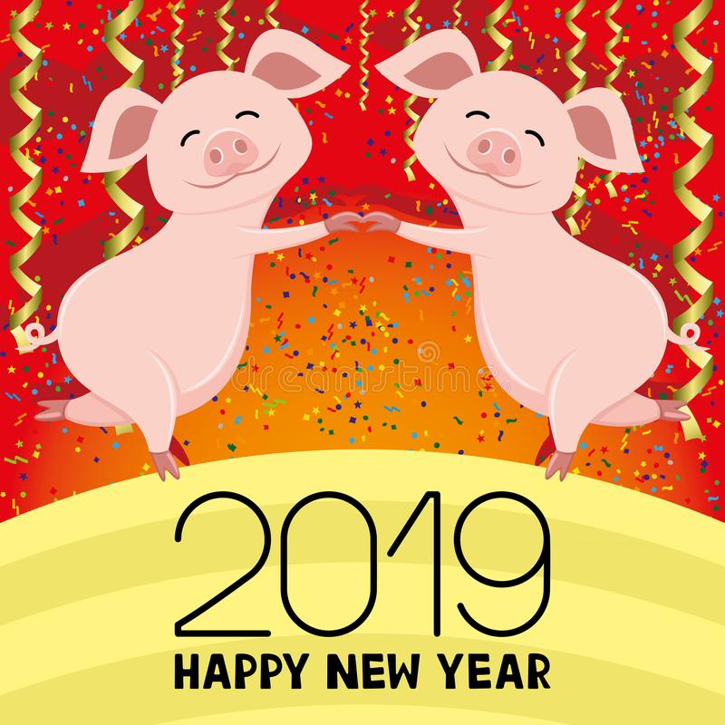Pigs symbol of the New Year. stock illustration