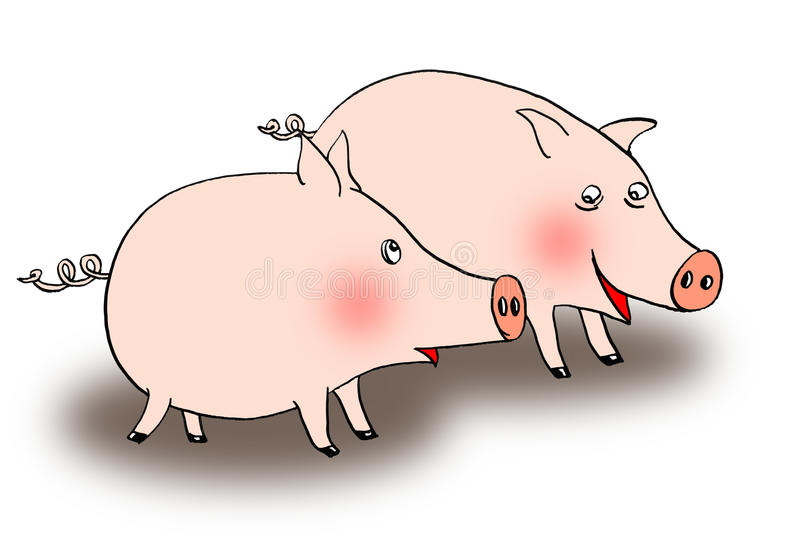 pigs två stock illustrationer