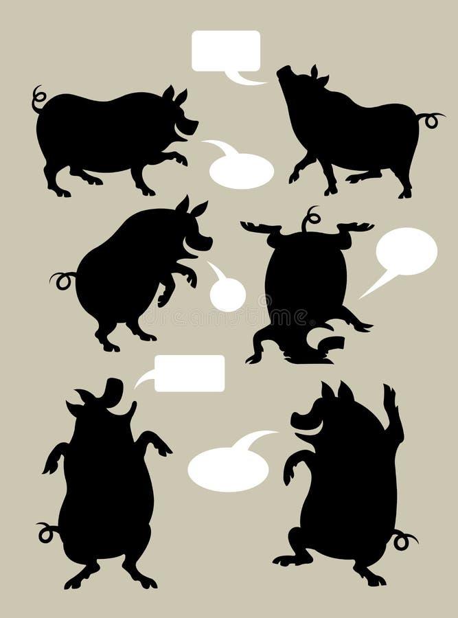 PigSilhouettesymboler royaltyfri illustrationer