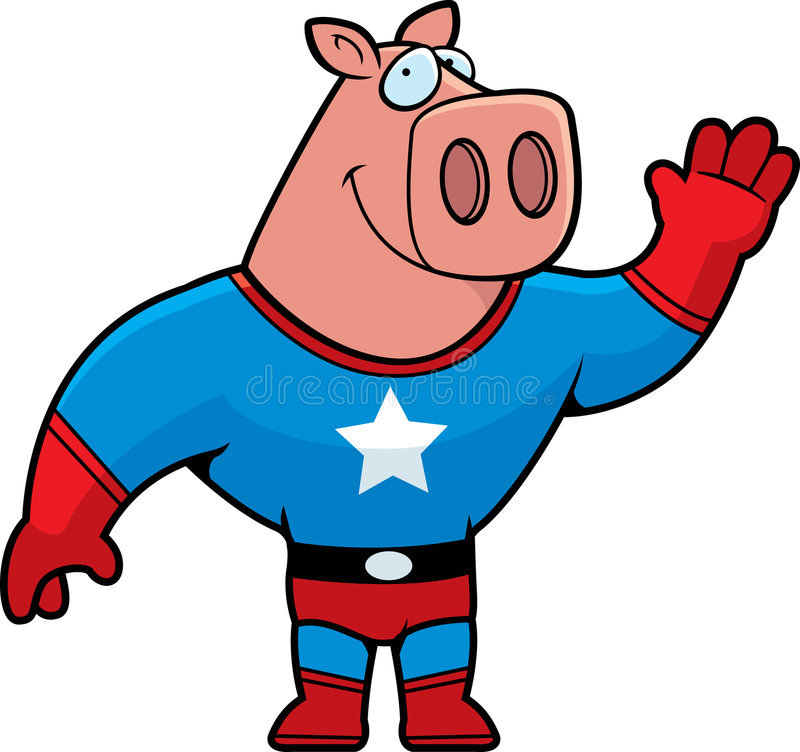 pigsuperhero royaltyfri illustrationer