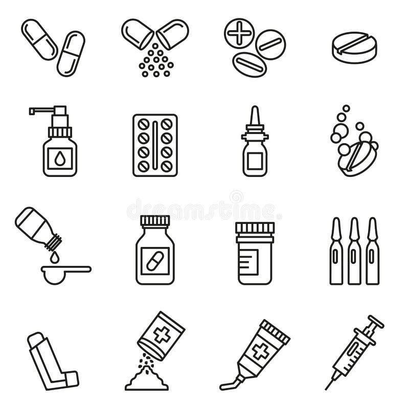 Pigułek butelek i kapsuł ikony ustawiają medycznego royalty ilustracja