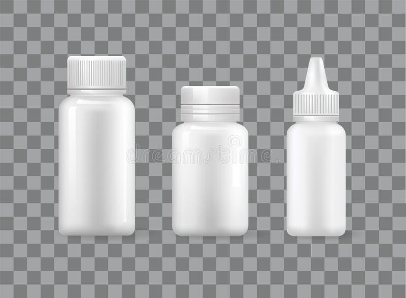 Pigułek butelki Ustawiać Rozpylają zbiornik Odizolowywać 3D ikony ilustracja wektor