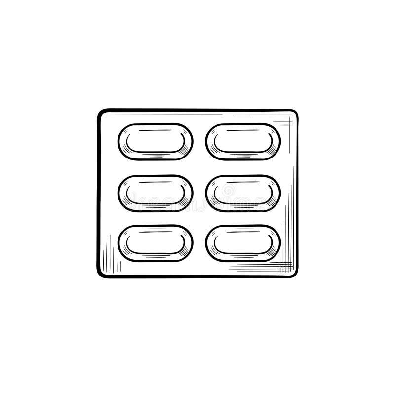 Pigułka bąbla konturu doodle ręka rysująca ikona ilustracji
