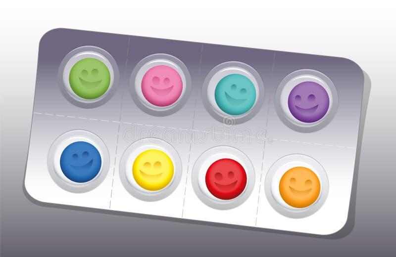 Pigułka bąbla uśmiechu Szczęśliwi kolory royalty ilustracja