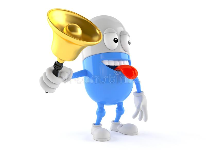 Pigułka charakter dzwoni handbell ilustracji