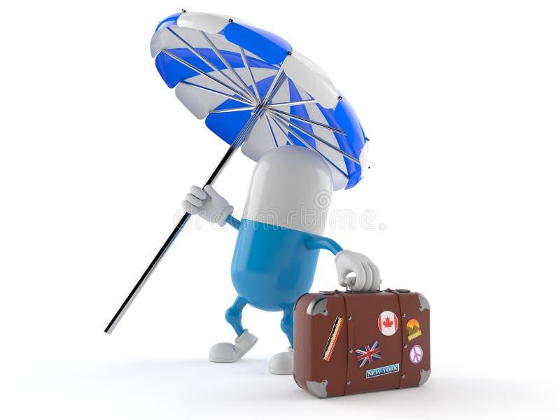 Pigułka charakter z walizką ilustracja wektor