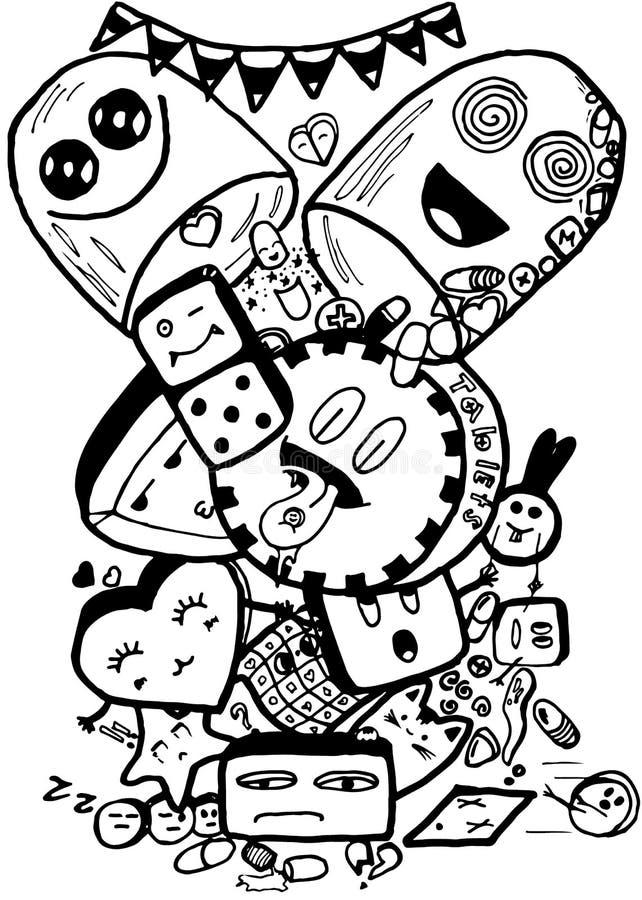 Pigułki łatwego doodle czarny i biały odosobniony wizerunek fotografia stock