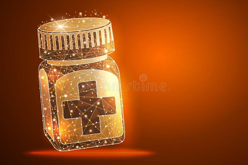 Pigułki butelka Medyczny kapsuła zbiornik Isometric Wektorowa ilustracja ilustracja wektor