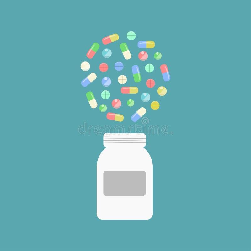 Pigułki butelka z pigułkami i pastylkami, medycyna Rozsypisko medycyny, kapsuły, lek Opieka zdrowotna ilustracja wektor