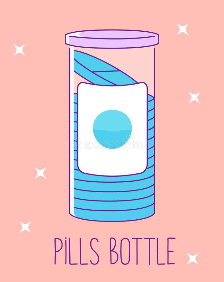 Pigułki butelki mieszkania linii ikona na różowym tle Pigułka słój dla pastylek Medyczny zbiornik również zwrócić corel ilustracj royalty ilustracja