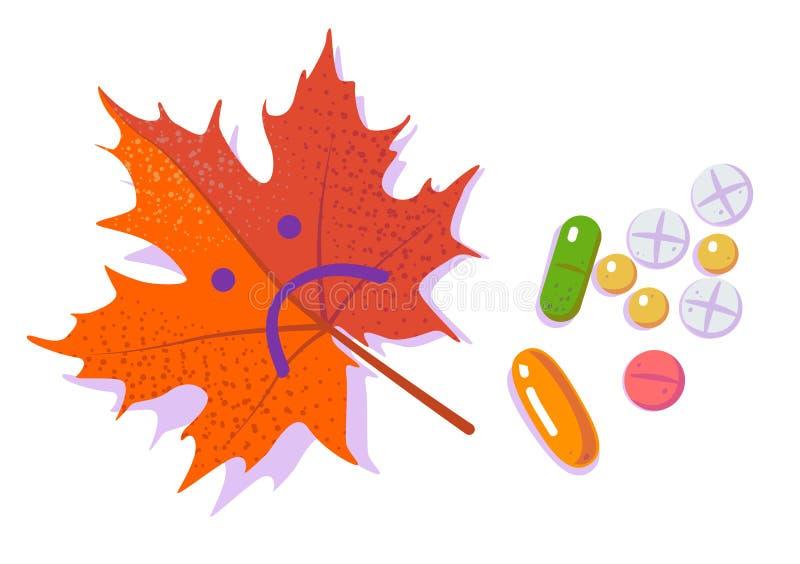 Pigułki i czerwony smutny liść Sezonowa depresja i Antidepressants Jesieni grypa i zimno P?aska wektorowa ilustracja na bielu ilustracji