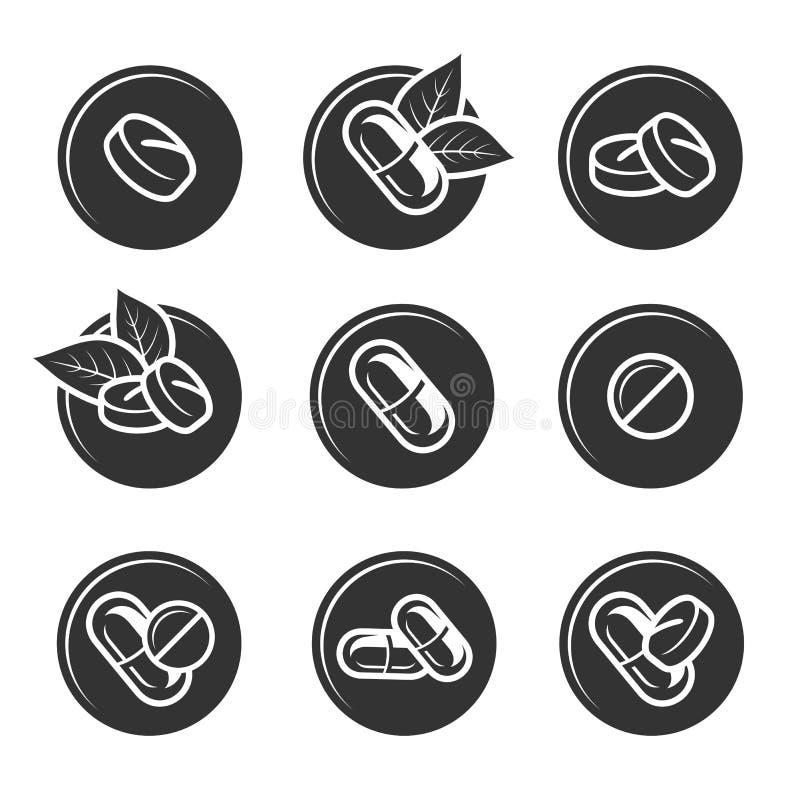 Pigułki i kapsuła elementy ustawiający wektory ilustracja wektor