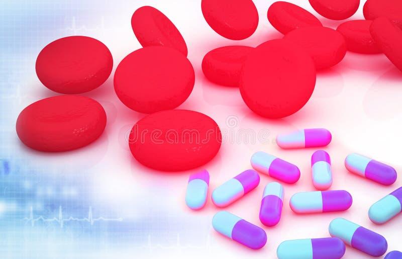 Pigułki i rewolucjonistek komórki krwi ilustracja wektor