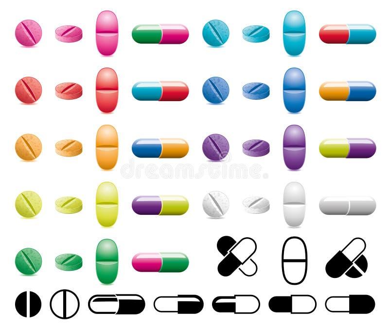 Pigułki, kapsuły i czarny i biały symbole, ilustracji