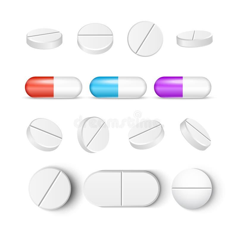 Pigułki medycyny kapsuły wektorowa ikona odizolowywający set Apteki pigułki traktowania witaminy lub środka przeciwbólowego medyc ilustracji