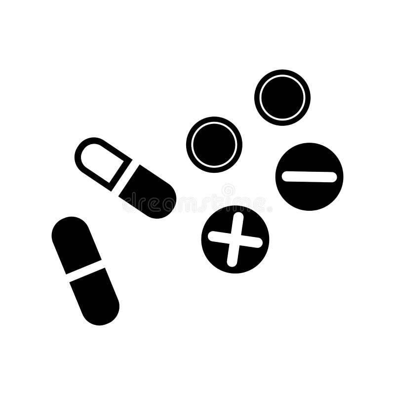 Pigułki medyczna ikona Czerń odizolowywający ilustracja wektor