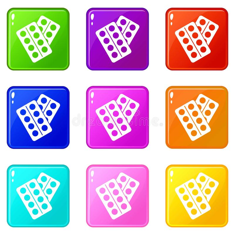 Pigułki w pakunek ikon 9 secie royalty ilustracja
