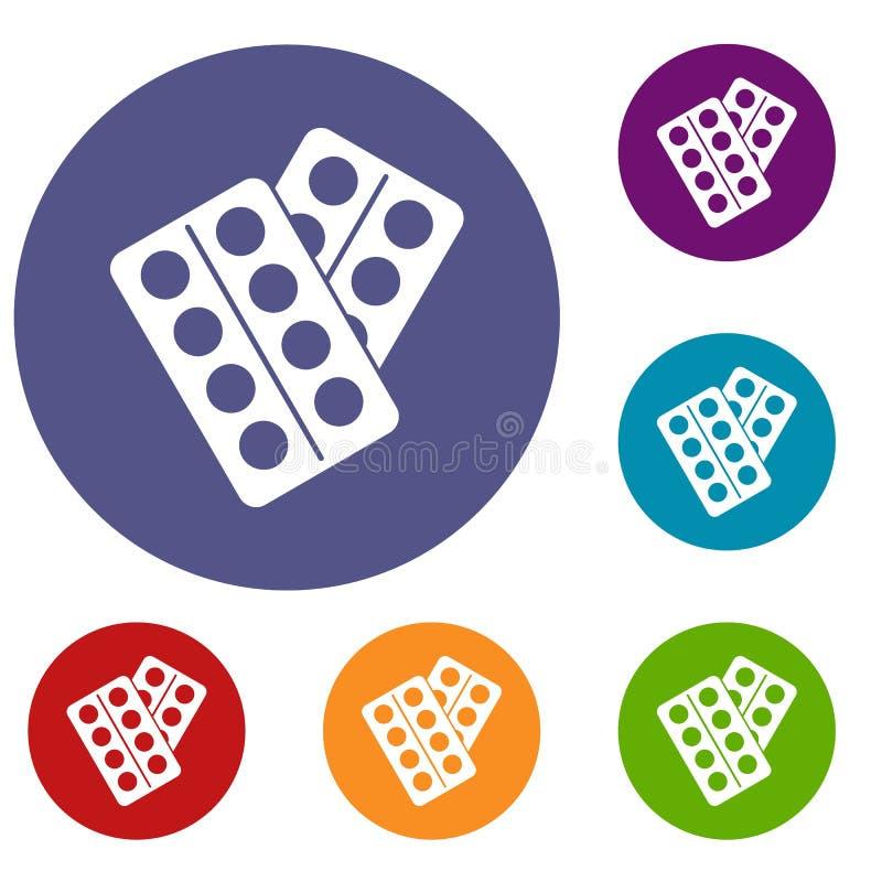 Pigułki w pakunek ikonach ustawiać ilustracja wektor