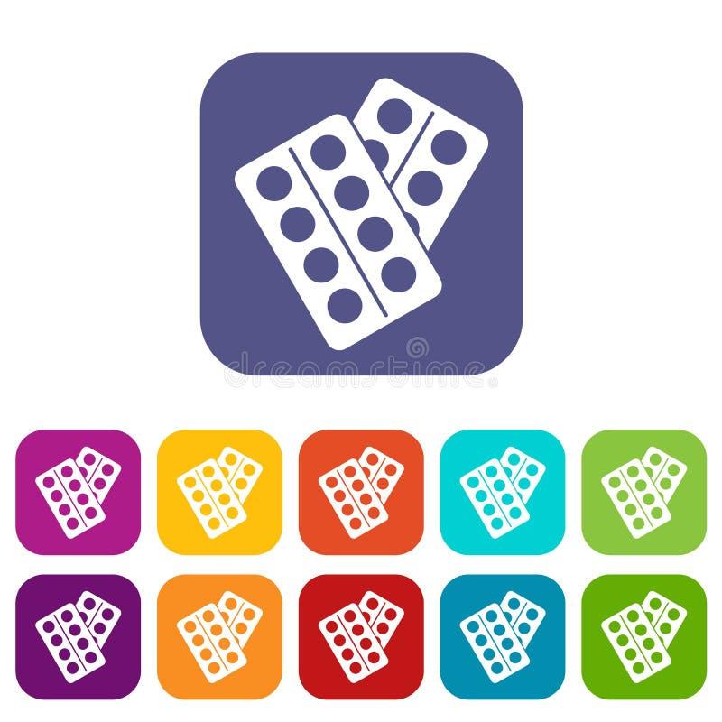 Pigułki w pakunek ikonach ustawiać ilustracji