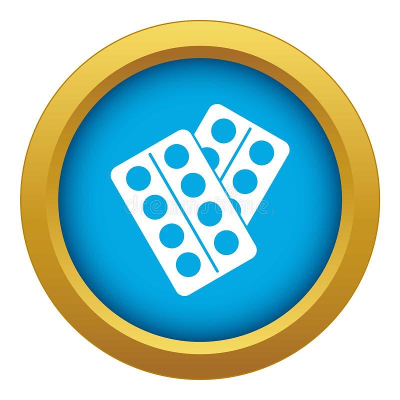 Pigułki w pakunek ikony błękitnym wektorze odizolowywającym ilustracji