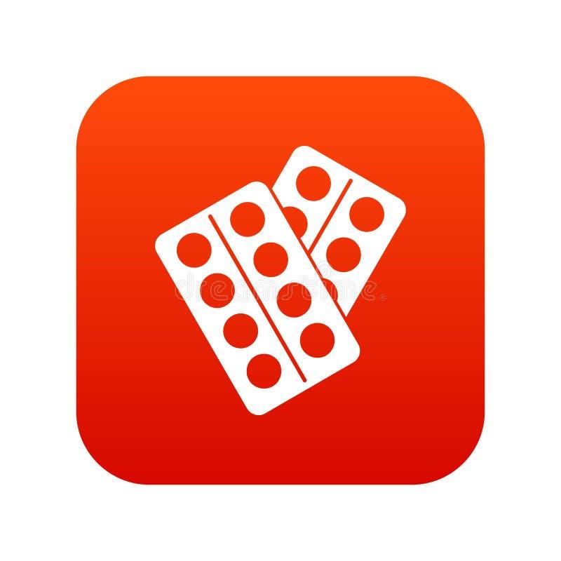 Pigułki w pakunek ikony cyfrowej czerwieni royalty ilustracja