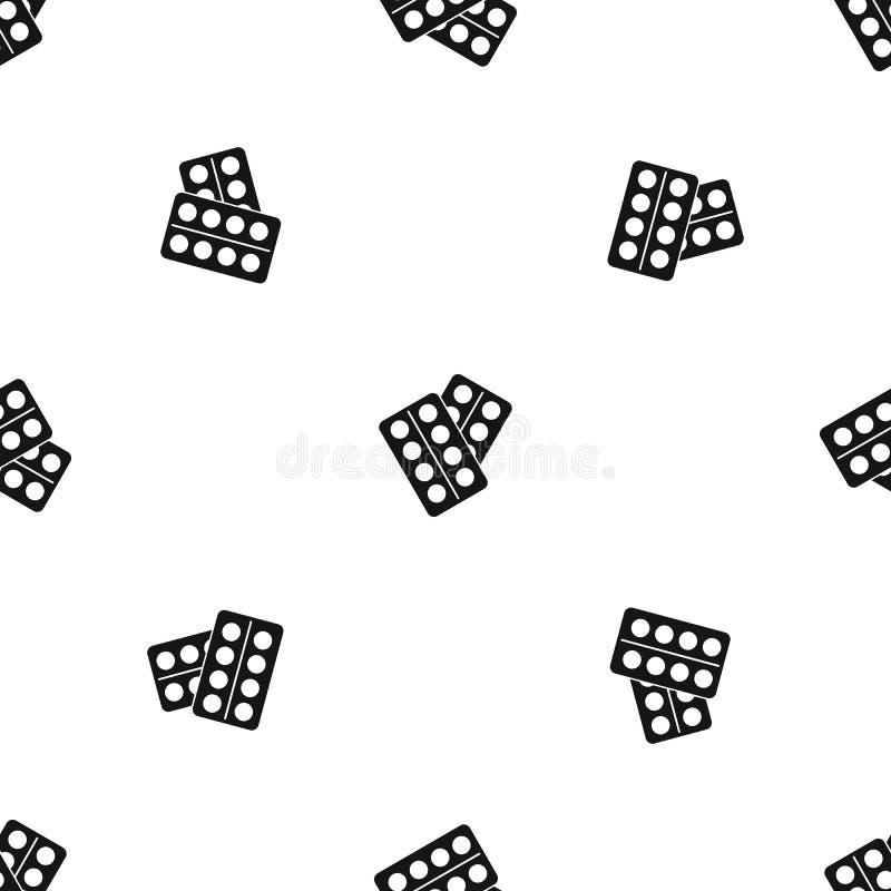 Pigułki w pakunku wzoru bezszwowym czerni ilustracja wektor