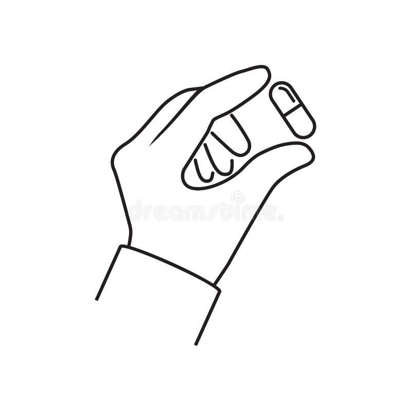 Pigułki w ręki ine minimalnym projekcie ilustracja wektor